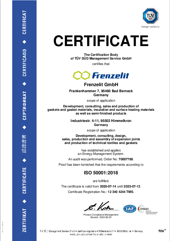 Certificate ISO 50001 Energy management