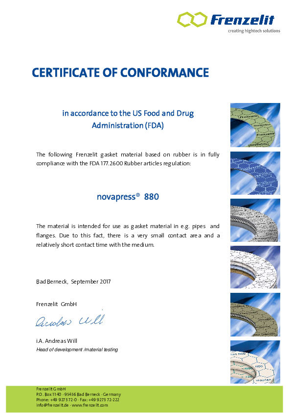 Certificate of Conformance FDA novapress® 880