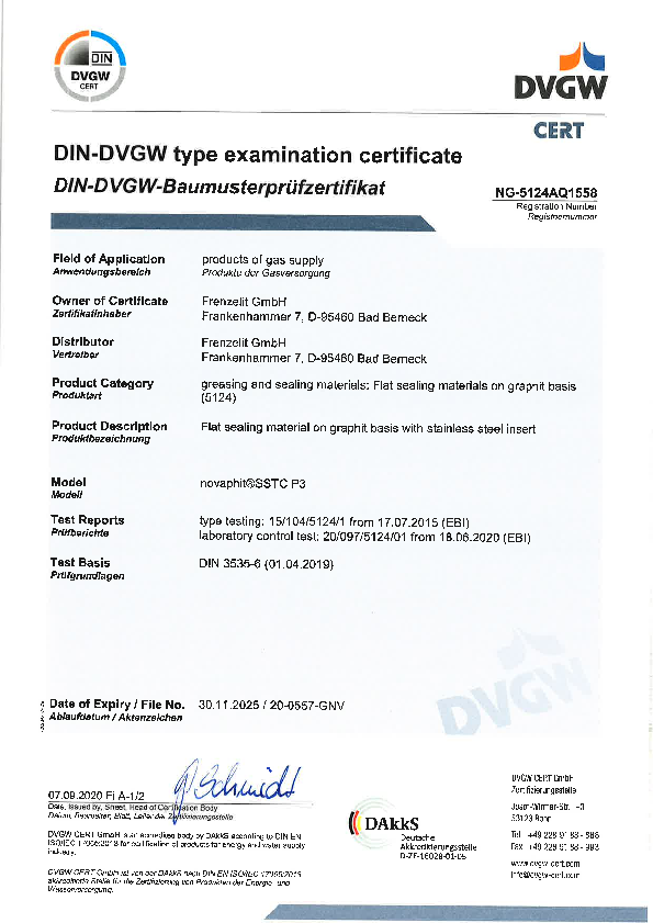 Examination Certificate DVGW novaphit® SSTC