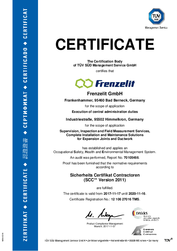 Certificate SCC Frenzelit Expansion Joints