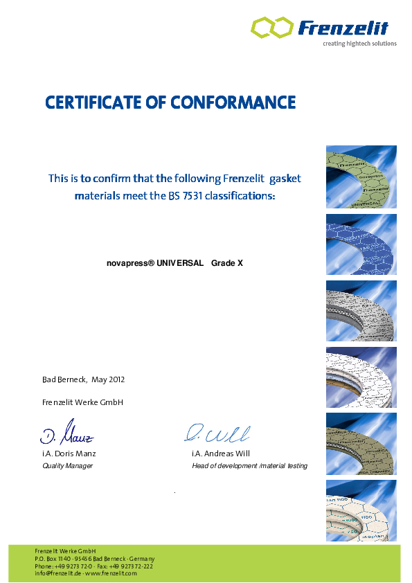 Certificate of Conformance acc. to BS 7531 Grade X novapress® UNIVERSAL