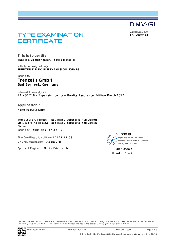Certificate DNV Germanischer Lloyd Frenzelit Expansion Joints