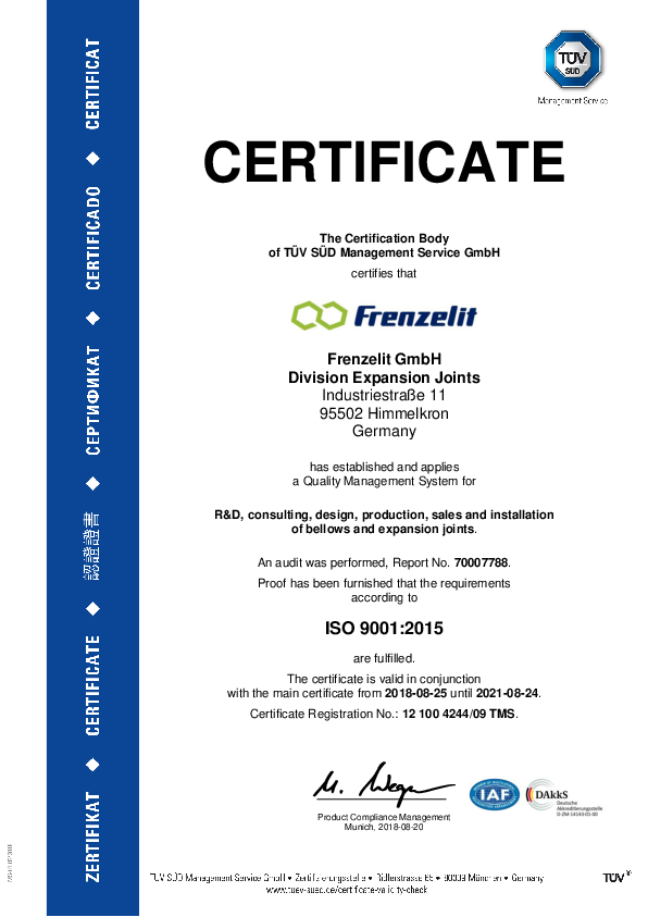 Certificate ISO 9001 Frenzelit Expansion Joints