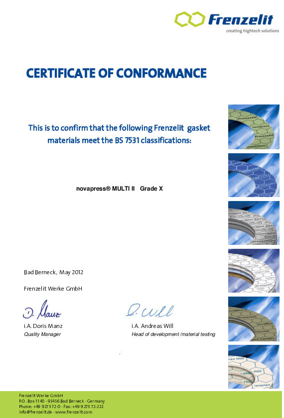 Certificate of Conformance acc. to BS 7531 Grade X novapress® MULTI II