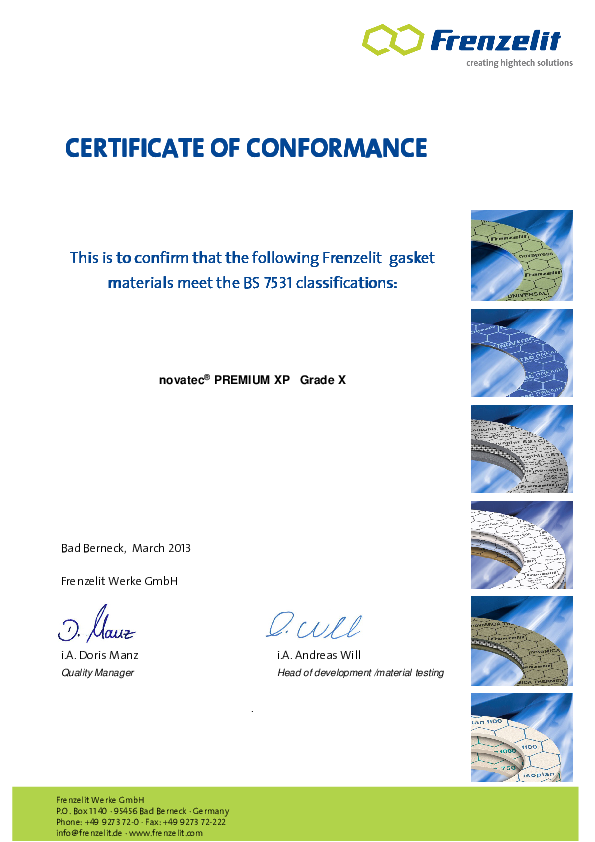 Certificate of Conformance acc. to BS 7531 Grade X novatec® PREMIUM XP