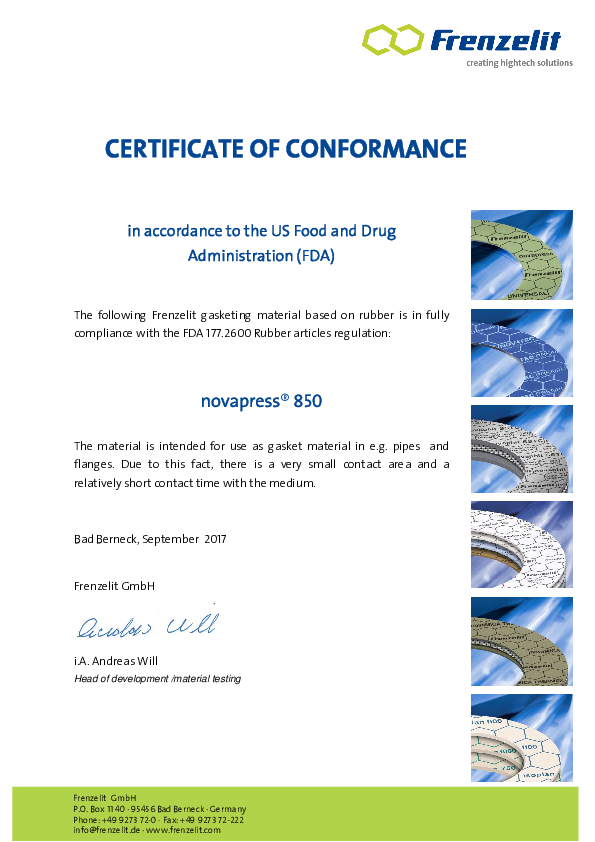 Certificate of Conformance FDA novapress® 850