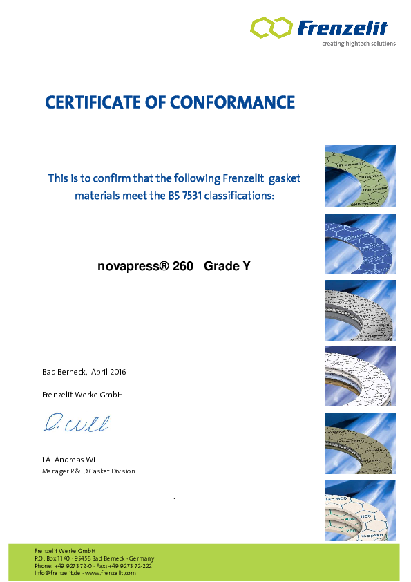 Approval according to BS 7531 Grade Y novapress® 260