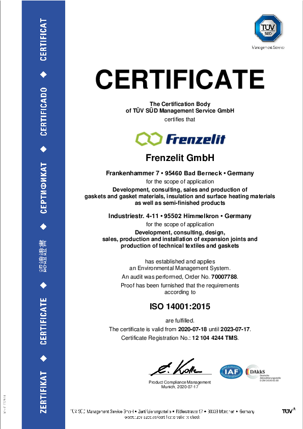 Certificate ISO 14001 Environment management