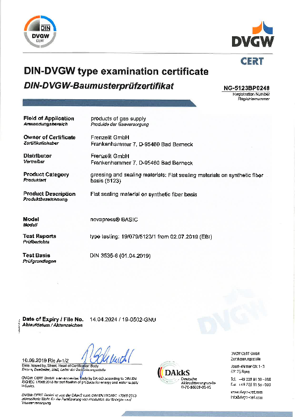 Approval DVGW for novapress® BASIC